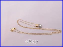 Fine 65 point old mind rose cut diamond 18ct gold pendant on 9ct gold chain