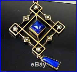 Fine 9ct Gold Lapis Lazuli & Seed Pearl Drop Pendant + 9ct Chain WHW Ld 7.1g