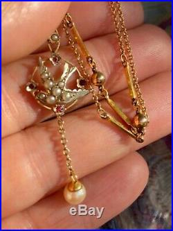 Fine, Antique 9ct gold swallow Bird, Seed Pearl Ruby pendant Chain Cultured Pearl