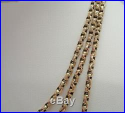 Fine Antique Guard/Muff Chain 9ct Gold Long Length 57in (144.78cm) 31.6grams