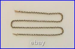 Fine Antique Victorian 9ct Gold Fancy Belcher Link Necklace Chain + Barrel Clasp
