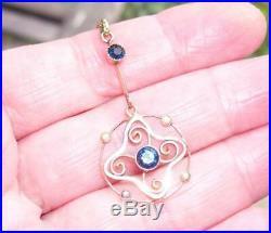Fine Antique Victorian 9ct Gold Sapphire Seed Pearl Lavaliere Pendant w Chain