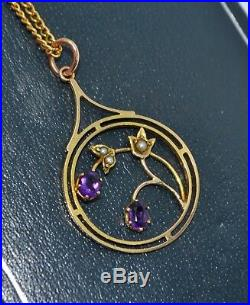 Fine Edwardian 9CT GOLD, Amethyst & Seed Pearl Floral PENDANT Free 18 Chain
