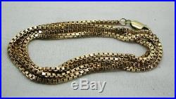 Fine Quality Heavy 9ct Gold Box Link Neckchain 30 In Length