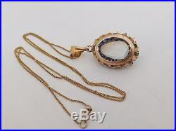 Fine art deco moonstone and sapphire 14ct gold pendant on 9ct gold chain 14k 585