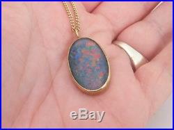 Fine heavy large black opal doublet 9ct gold pendant on chain 9k 375