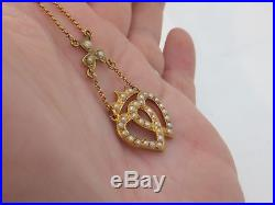 Fine sweetheart seed pearl victorian 15ct gold pendant necklace 15k 625