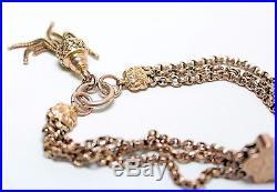 Finest Antique Victorian 9ct Gold Triple Strand Chain Albert Bracelet Charm 15gm