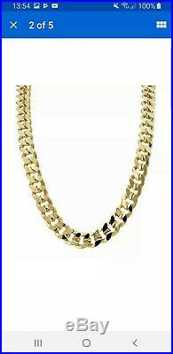 Flat Curb Chain Necklace 9ct Gold Gents Solid 375 Heavy Chunky 32.2g 22 Inches