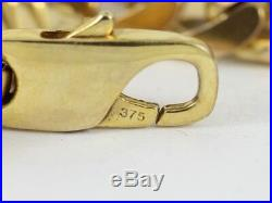Flat Curb Chain Necklace 9ct Gold Gents Solid 375 Heavy Chunky 76.7g Cx70