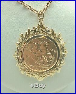 Full 1909 22ct Gold Sovereign pendant & 26 9ct Gold chain