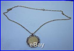 Full Sovereign 1918 in 9ct gold mount with Chain