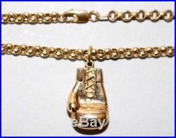 Fully Hallmarked 9ct Gold Belcher Chain & 9ct Gold Gem Set Boxing Glove Pendant