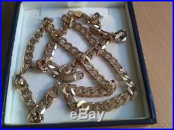 GENTS LADIEs 18.75 Solid 9ct Gold CURB BELCHER Chain 18gr Assay Hm 6mm link