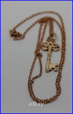 GENUINE 9CT ROSE GOLD 375 BELCHER CHAIN NECKLACE 50cm + KEY PENDANT 21ST OF 18TH
