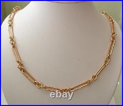 GENUINE 9K 9ct SOLID ROSE GOLD ALBERT CHAIN FOB NECKLACE WITH SWIVEL CLASPS