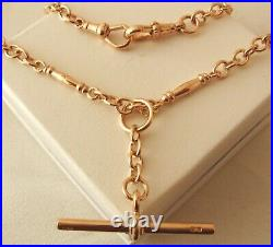 GENUINE 9ct ROSE GOLD ALBERT CHAIN FOB NECKLACE with T-BAR and DOUBLE SWIVEL
