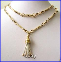 GENUINE 9ct YELLOW GOLD ALBERT CHAIN FOB NECKLACE TASSEL BELL SWIVEL CLASP