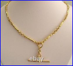 GENUINE 9ct YELLOW GOLD ALBERT CHAIN FOB NECKLACE with T-BAR and DOUBLE SWIVEL