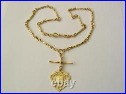 GENUINE 9ct YELLOW GOLD ALBERT CHAIN FOB NECKLACE with T-BAR and SHIELD
