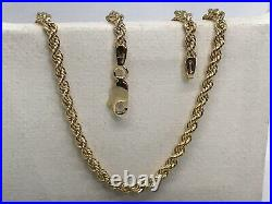 GENUINE 9ct YELLOW GOLD MEN&WOMAN 3MM ROPE CHAIN NECKLACE ALL LENGTHS