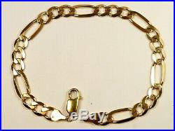 GENUINE SOLID 9ct GOLD FIGARO BRACELET CHAIN 8¼ 9.2g