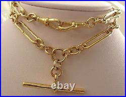 GENUINE SOLID 9ct YELLOW GOLD ALBERT CHAIN FOB NECKLACE with T-BAR and SWIVELS