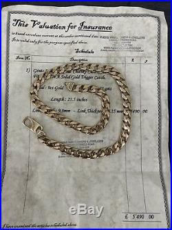 GENUINE Solid 9CT Gold 122g HallMarked Chunky Curb Chain Necklace Mens £5400