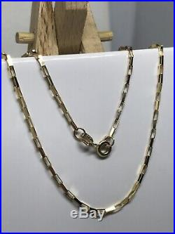 GOLD Square Paper Link Belcher Chain Necklace Necklet 9ct Yellow Gold NEW