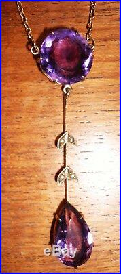 GORGEOUS VICTORIAN / EDWARDIAN AMETHYST DROP NECKLACE, 9 ct ROSE GOLD CHAIN