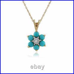 Gemondo 9ct Yellow Gold 0.49ct Floral Turquoise & Diamond Pendant on Chain
