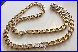 Gents Hallmarked Really Heavy Vintage Big Solid 9ct Gold Neck Chain 24 Inch