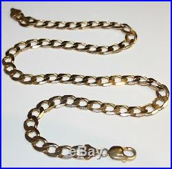 Gents Heavy 9ct Gold Solid Curb Link Necklace 55.6grams 22''Inches Long Offers