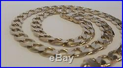 Gents heavy large solid 9ct gold curb chain necklace 22 1/2 inch 71 grams 2010