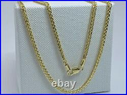 Genuine 9K Yellow Gold Mens&Woman 2mm Square Spiga Chain Necklace 18 New