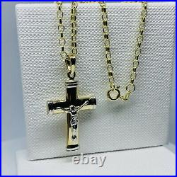 Genuine 9ct Yellow Gold Crucifix Pendant Necklace 2mm Belcher Chain 20 New