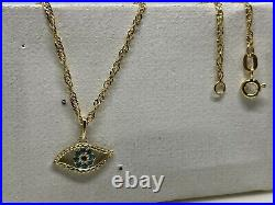 Genuine 9ct Yellow Gold Evil Eye Necklace&Pendant Chain 18