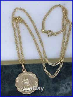 Genuine Gold Madonna Pendant Chain Necklace 9ct Yellow Gold NEW 18 inch