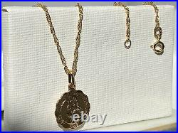 Genuine Gold St Christopher Pendant&Necklace 9ct Yellow Gold 18 inch