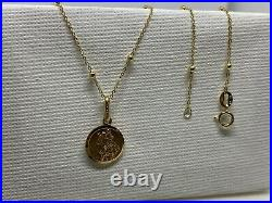 Genuine Gold St Christopher Pendant&Necklace 9ct Yellow Gold 18 inch Chain