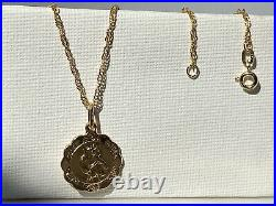 Genuine Gold St Christopher Pendant&Necklace 9ct Yellow Gold New 18 inch