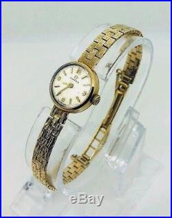 Genuine Vintage 9ct Gold Ladies Omega Cocktail Watch With Safety Chain