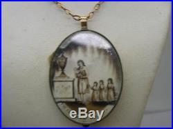 Georgian 18ct Rolled Gold Sepia Painted Mourning Locket 9ct Gold Old Chain