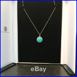 Georgian Turquoise pave set circular pendant on 9ct gold chain, Circa 1830