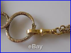 Georgian c. 1800 Ouroboros Snake Quizzing glass on 9CT Gold Muff chain 39 1/2