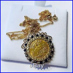 Gold Sovereign Necklace With 16 Diamonds & 16 Sapphires On A Fine 9ct Gold Chain