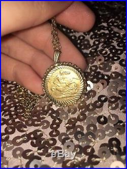 Golden Sovereign Necklace 1900 22ct Sovereign 9ct Gold mount and chain