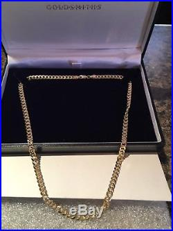 Goldsmiths Heavy Solid 9ct Gold Curb Chain 22.5 grams
