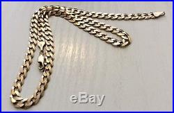 Good Gents Nice Quality Full Hallmarked Solid 9ct Gold Flat Open Curb Chain 19