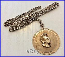 Good Vintage Large Solid 10K Gold Centurion Pendant on Quality 9CT Chain